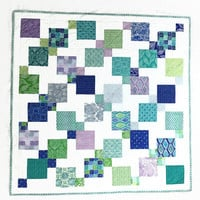 Crib Quilt, Nursery Bedding, Baby Quilt, Sea Glass Colors