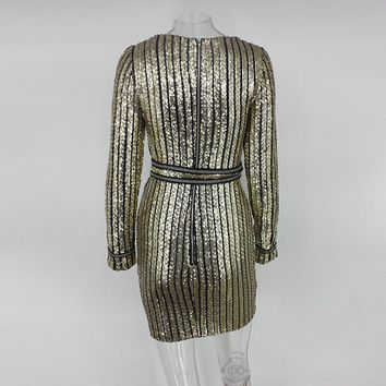 Long Sleeve Striped Sequin Dress