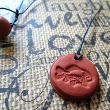 Fish Animal Necklace, Aromatherapy Jewelry, Essential Oil Diffuser, Terra Cotta Clay Pendant, Sea Creature