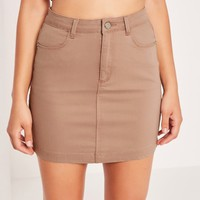 Missguided - Superstretch Denim Mini Skirt Nude