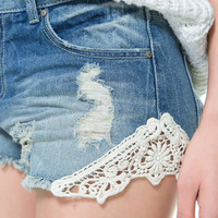 DENIM SHORTS WITH CROCHET DETAIL - Shorts - TRF - ZARA United States
