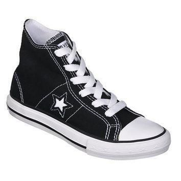 kid s converse one star hi top canvas lace up shoe black