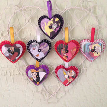 Vintage Disney Felt Heart Decorations