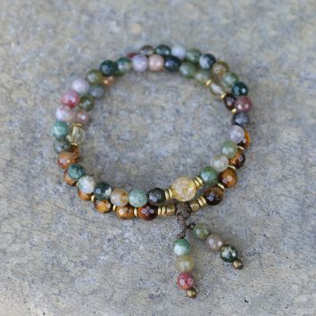 Prosperity and Success, Jasper and Citrine 54 Bead Mala Wrap Bracelet