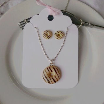 Special Offer, Matching Set, Scented Chocolate Striped Donut Necklace, Donut Earrings, Food Jewelry, Foodie Gift, Kawaii, Polymer Clay
