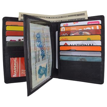 Mens Bifold Hipster Genuine Hunter Leather RFID Blocking Euro Credit Card ID Bill Wallet