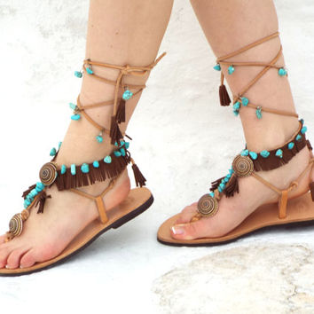 Native America leather Sandals, hippie shoes, Lace Up Sandal, barefoot, Geniun leather shoes, festival sandal, Valentine's gift for women
