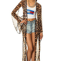 The Leopard Twist Back Kimono in Leopard