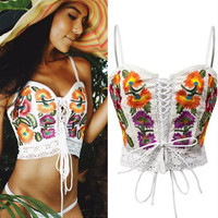 Flower embroidery chest bandage slim vest female hollow