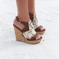 NOT RATED Candace Tan Cork Wedge