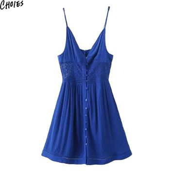 Women Blue V Neck Lace Patchwork Panel Button Up Front Sexy Vintage Cami Dress Summer Fashion Casual A Line Beach Clothing
