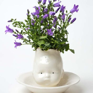 Small Baby Head Ceramic Planter Waiter There's a Baby in my Soup