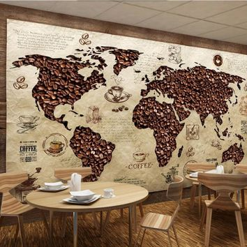 papel de parede Cafe world map Vintage wallpaper,coffee shop living room sofa TV wall bedroom restaurant bar 3d murals