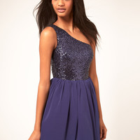 ASOS Skater Dress with Sequin Top at asos.com
