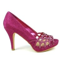 Celeste Melissa-03 Embellished Laser-cut Dress Pump in Fuchsia @ ippolitan.com
