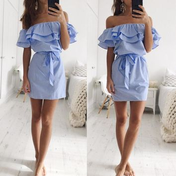 2017 New Blue Striped Off The Shoulder Ruffle Summer Dress With Belt