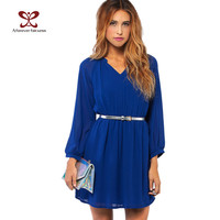Women Dress Long Sleeve Waist Elastic Chiffon Brief Casual Dress For Women Plus Size Party Dresses vestidos