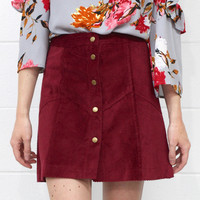 Corduroy Mini Skirt with Front Button Details {Burgundy}
