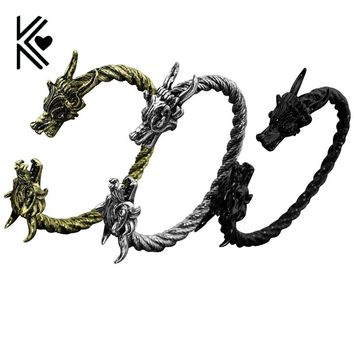 Drop shipping Vintage Punk Dragon Bracelets For Men With Twisted Cable Bangle Opening Dragon Mens Accessories