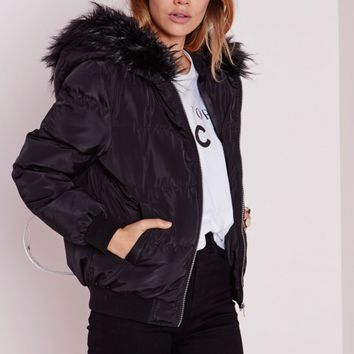 Missguided - Padded Hooded Bomber Jacket Black