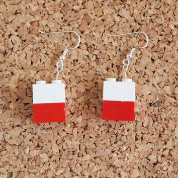 Lego Block Earrings - kids toy repurpose recycled jewelry geekery dangle fish hook red white FREE shipping to USA