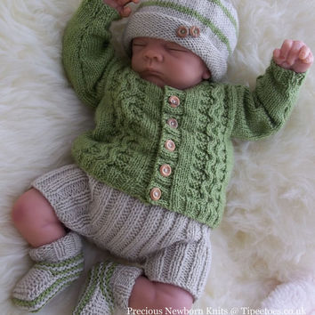 Baby Boys Knitting Pattern -  Download PDF Knitting Pattern - Sweater Set - Hat Trousers & Booties - Baby Homecoming Outfit - Reborn Dolls