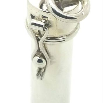 Sterling Silver Cylinder Prayer Box with Latch 1 1/4 inches