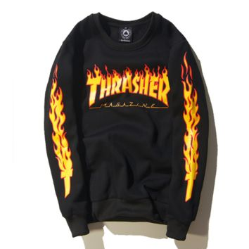Thrasher New fashion bust flame letter print and sleeve flame print long sleeve top sweater Black
