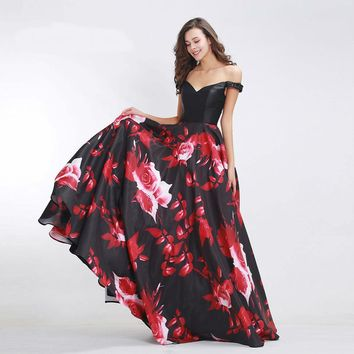 Elegant Prom Dresses for Women Floral Print Boat Neck Floor-Length A-Line Gowns Sexy Beading Evening Dresses