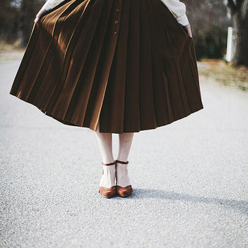 Vintage Autumnal Pleated Wool Skirt - xs