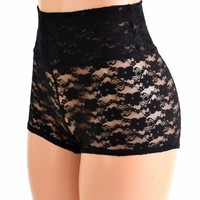 Black Lace High Waist Shorts