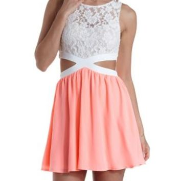 Lace & Chiffon Cut-Out Skater Dress