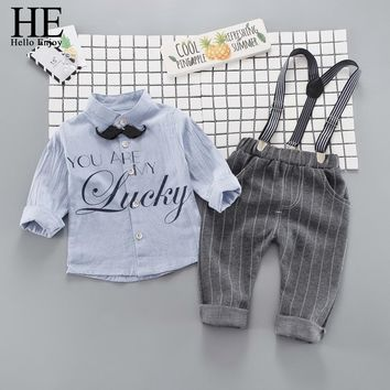 HE Hello Enjoy Toddler Boys Clothing 2018 Fashion Gentleman Newborn Baby Clothes Long Sleeve Print Letter Shirt+Overalls Sets