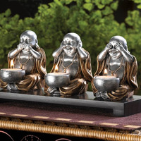 No Evil Buddha Candle Holder Set