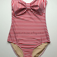 Striped Lycra Swim Fabric Tank Suit with Padding and Bow