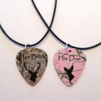Her Buck His Doe Guitar pick matching necklaces for couples love girl guy deer realtree camo pink