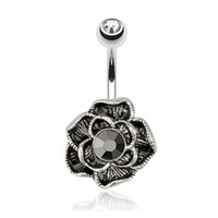 14g Black Vintage Flower  and Clear Gem Non Dangle Belly Button Ring Navel Body Jewelry Piercing with Surgical Steel Curved Barbell 14 Gauge