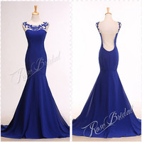 Mermaid royalblue chiffon and tulle prom evening dresses with beading and diamonds neckline flool length backless back for special party