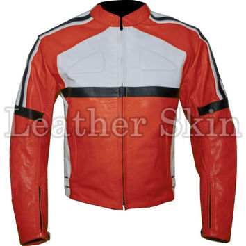 Orange Biker Racing Leather Jacket