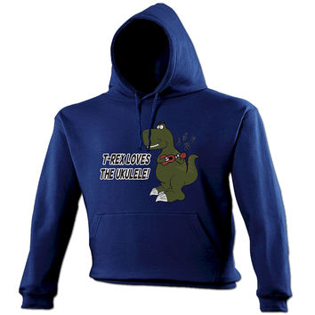 123t USA T -Rex Loves The Ukulele Funny Hoodie