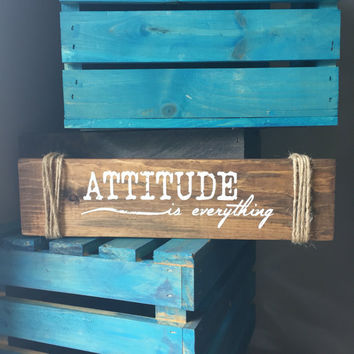 Attitude is everything mini Wood Sign - Bedroom Decor, Wall Decor, Reclaimed Barn wood, Wood Home Decor, Gift for Her, inspirational decor