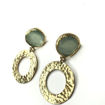 Crystal and Circle Gold Plated Brass Earrings