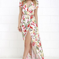 Vine Art Ivory Floral Print Wrap Maxi Dress