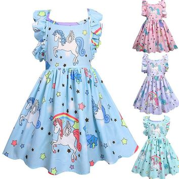 Summer Children dress princess girl child dresses Cartoon Unicorn Girls Birthday Party Kids Halloween Unicorn Costume Cotton