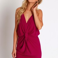 Like It Or Knot Dress Fuchsia