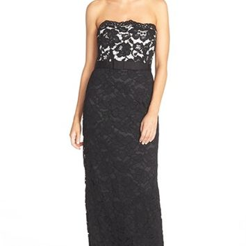 Women's Aidan Mattox Strapless Lace Gown,