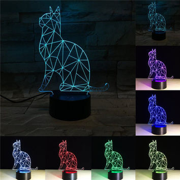 3D Illusion Bulbing Cute Cat Lamp Acrylic LED Night Light USB Table Desk Living Room Home Decor