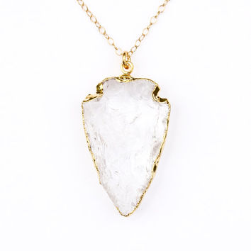 Crystal quartz arrowhead necklace - gold arrowhead necklace - crystal quartz necklace - long gold necklace - gold jewelry - arrow necklace