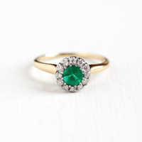 Vintage 14K Yellow & White Gold Emerald and Diamond Cluster Ring - Size 5 1/2 1940s Art Deco Hallmarked Jabel Fine Engagement Gem Jewelry