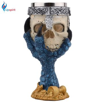 Creative Horror Halloween Skull Hand Goblet Stainless Steel 3D Skeleton Knight Drinking Mug Beer Cup Home Bar Drinkware